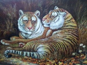 Painting of 2 Tigers by Master Tony Chew